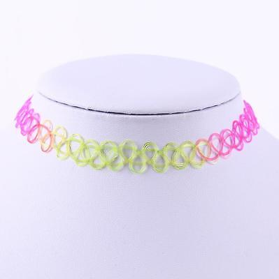 Trendy Women Girls Gothic Rainbow Henna Elastic Boho Choker Stretch Necklace