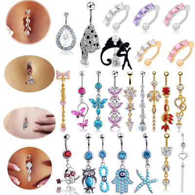 Navel Belly Ring Rhinestone Crystal Button Bar Barbell Body Piercing Jewelry