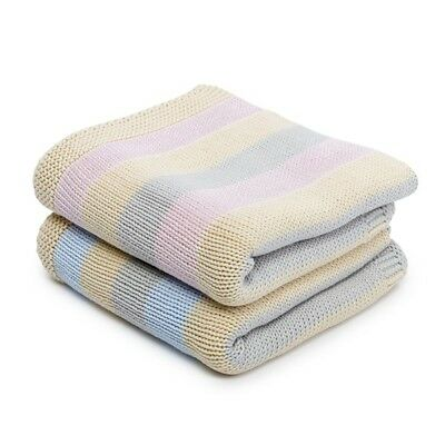 (PINK) Toffee Moon Pure Cotton Knitted Stripe Blanket (PINK)