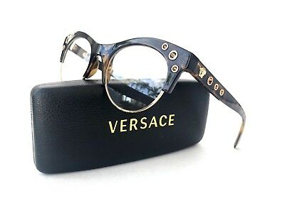 New VERSACE Frames Tortoise Gold Cat Eye Women RX Eyeglasses 3232 108 52-20-140