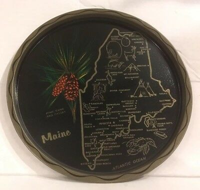 VTG State of MAINE Round Metal Serving Tray Map PINE CONE  - Souvenir