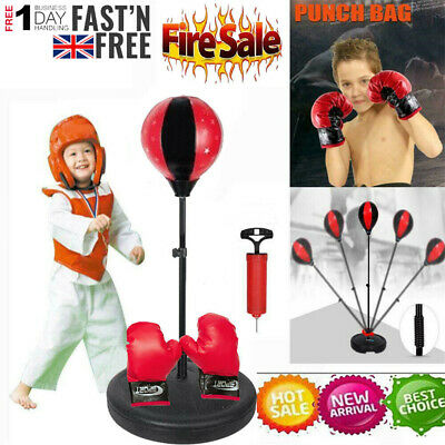 Standing Adjustable Kids Punch Bag Ball Set Free Gloves Pump Mitts Boxing Gift
