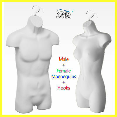 MN-179 White Plastic Female Armless Round Body Torso Dress Form with Stand