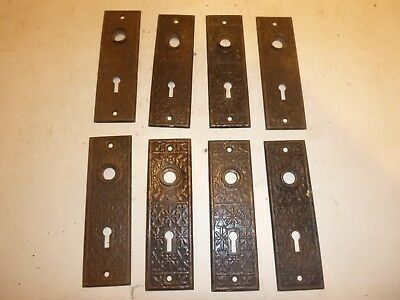 Vintage Lot Of 8 Ornate Metal Door  Back Plates