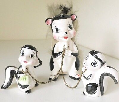 Skunk Family Mom Babies Ceramic Vintage Fur