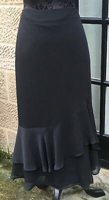 599904e2164 Ladies Per Una Marks   Spencer Black Chiffon Frill Detail Party Skirt Size  18