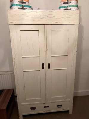 Antique French Armoire / Wardrobe Painted Aged Patina Swedish Country Pine