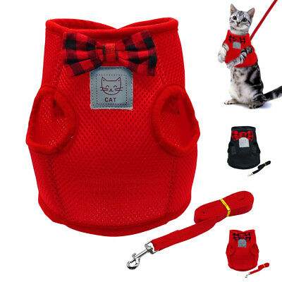 Soft Mesh Cat Kitten Walking Harness & Lead Small Dog Puppy Cat Clothes Coats