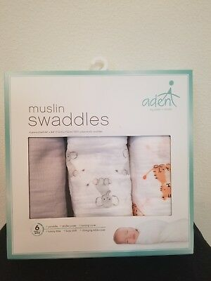 Aden & Anais 3 Pack 100% cotton Muslin Swaddles White gray zoo animals 44 x 44