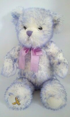 Build A Bear Teddy White Purple Children's Cancer Nikki's Plush Stuffed Doll 15""