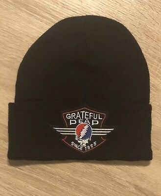 GRATEFUL DEAD Beanie Embroidered Skull Patch BLACK Rock Band Punk Winter Hat