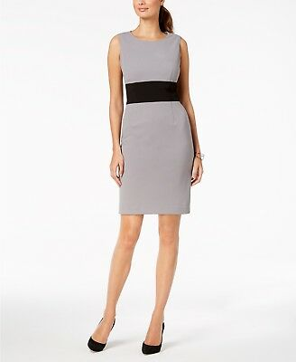 51039d4a $225 Kasper Women's Colorblocked Sleeveless Knee Length Sheath Dress Size 16