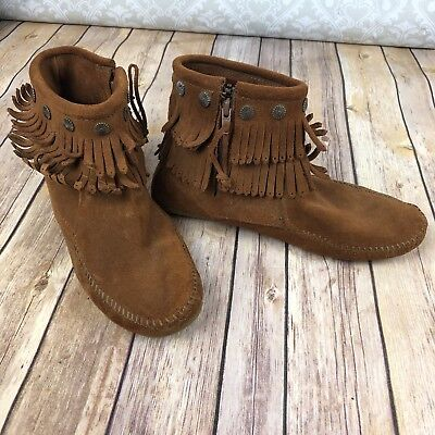 Minnetonka Womens Dusty Brown Suede Fringe Moccasin Boots Booties Size 10