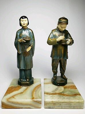 Vintage 1930s JB Hirsch Chinese Couple Bookends Painted Metal Rare Combo