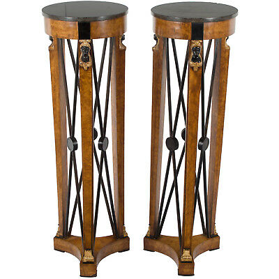 Antique Pair Neoclassical Style Marble Top Tall Pedestals Plant Stands Art Deco