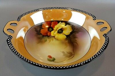 "Vintage Noritake ART DECO Luster ""Poppies"" Bowl"