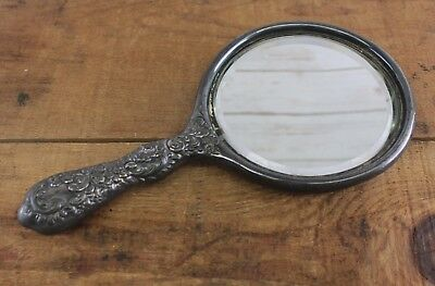 Antique Victorian Hand Mirror Art Nouveau 1800 's Monogramed