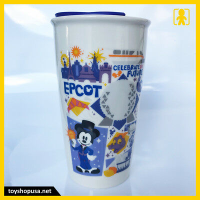 Starbucks Epcot Mickey Figment Ceramic Tumbler Travel Mug Disney Parks