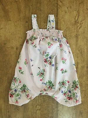 Next ~ Baby Girls Pink Floral All-in-one Playsuit ~ Age 9-12 Months