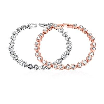 Square Link Tennis Bracelet with Crystals in Sterling Silver-Plated Brass