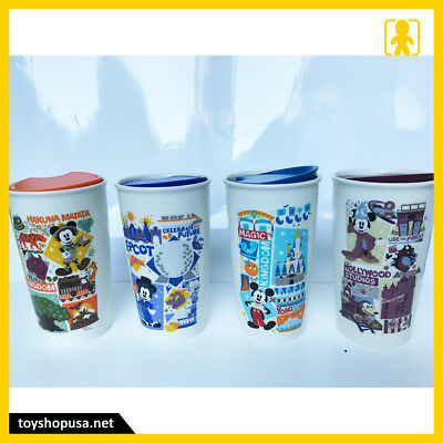 Disney Magic & Animal Kingdom Epcot Hollywood Starbucks 4X Tumblers Mug Mickey