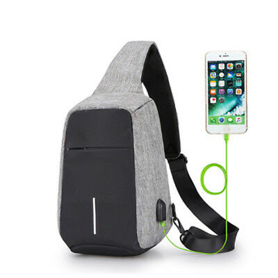 Anti-theft USB sling chest bag anti-theft USB backpack one shoulder strap GRAY