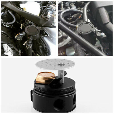 Universal High Quality Vehicle Compact Baffled Oil Catch Can 2-Port Black New