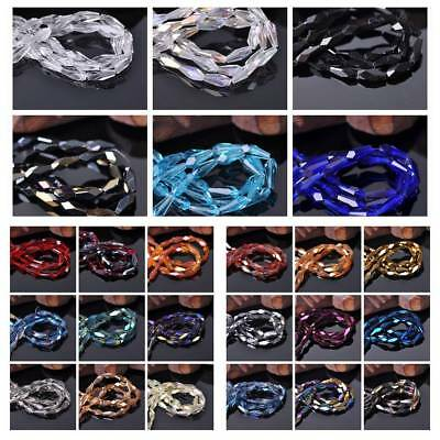 15pcs 4x10mm Teardrop Faceted Crystal Glass Loose Spacer Beads Jewelry Findings