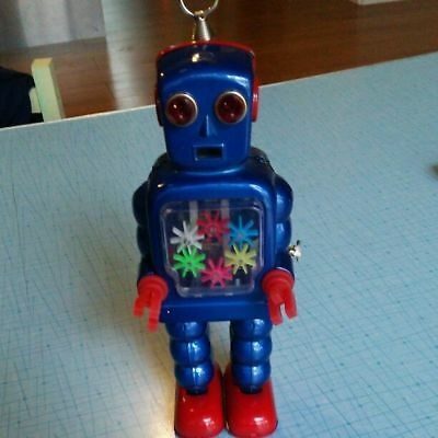 Very Rare Vintage Japanese Tin Plate Robot Wind-up Toy Blue From Japan F/S A9