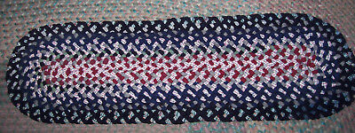 """New Not Antique Hand Handmade  Braided Table Rug 39"""" X 11"""""""