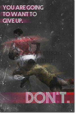 "Rugby Motivational Poster 03 ""DON'T give up."" Art Print Motivation Quote Gift"