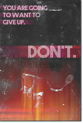 "Squash (Sport) Motivational Poster 03 ""DON'T give up"" Art Print Motivation Gift"