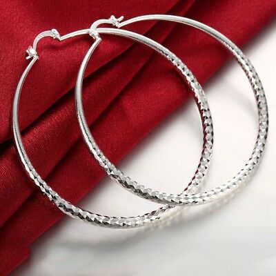 STERLING SILVER PLAIN 2MM THICK POLISHED ROUND HOOP  EARINGS,10-70mm