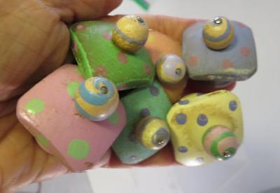 Vintage 6 Pc Lot Of Wooden Baby Nursery Dresser Knobs Hand Painted