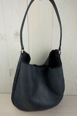 5912f33151263a UGG CLAIRE HOBO BLACK SUEDE SHEARLING LINED 1013754 TOTE BAG new ...