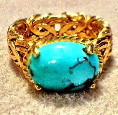 REAL 14K Gold ~2.5 Carat Cabochon Turquoise Byzantine Ring Size 9.5 GREAT GIFT🎁