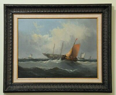 Vintage Sailboats Oil Painting ~ J. Ray ~ Continental School 19Th Cent.~ British