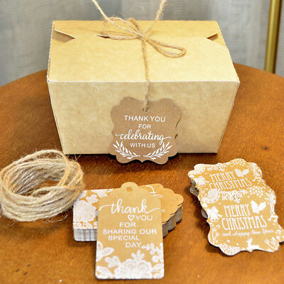 50pcs Blank Kraft Paper Hang Tags Wedding/Party Favor Label Price Gift Card