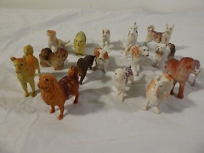 16 Tiny Miniature Dog Figures - Collectible Lot of dogs, two inches figurines