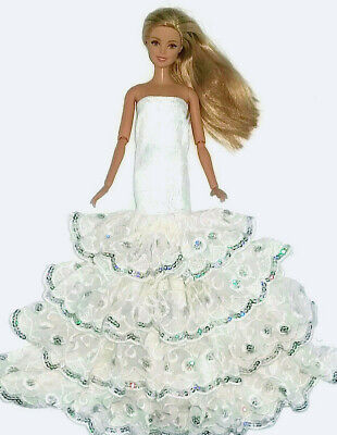 New Barbie doll clothes outfit evening wedding white frilled sequinned dress.