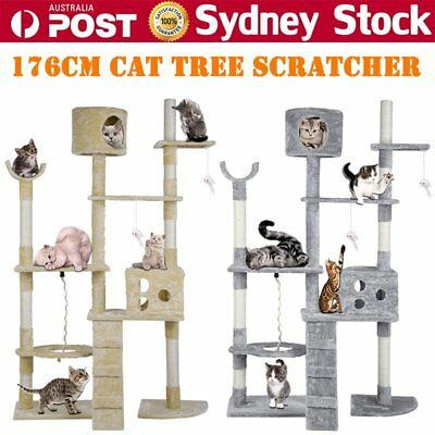 176cm Cat Kitten Tree Tower Furniture Toy Scratching Pole Post Activity Gym B6