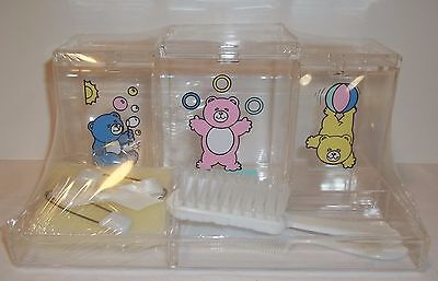 Vintage Nursery Jar Gift set, Baby clear vanity containers Infant grooming NIB