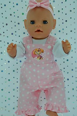 "Play n Wear Doll Clothes For 17"" Baby Born POLKA DOT BIB DUNGAREE~TOP~HEADBAND"