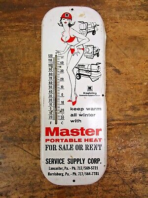 Vintage Original Metal Koehring Master Portable Heaters Thermometer Sign