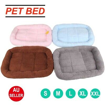 Pet Bed Mattress Dog Cat Pad Mat Cushion Cotton Fleece Soft Warm Washable S-XXL