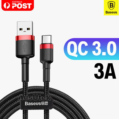 BASEUS QC3.0 Type C Fast Charging Data Sync Cable For Huawei P30 Pro Galaxy S10
