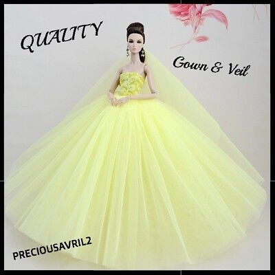 Brand new Barbie doll clothes outfit princess wedding dress yellow bridal gown