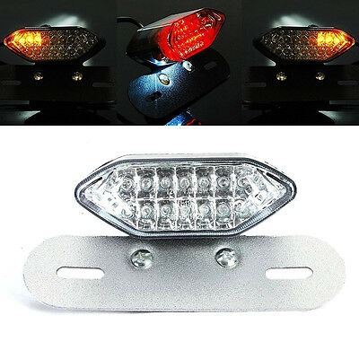 12V Clear Motorcycle Brake Tail Turn Signal License Plate Integrated Light