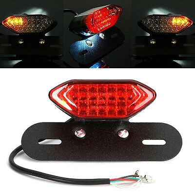 12V Universal Motorcycle Brake Tail Turn Signal License Plate Integrated Light