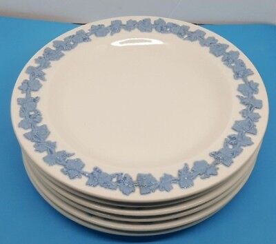 Wedgwood Embossed Queen's Ware Lavender Blue on Cream Bread Plates - 6 Pieces